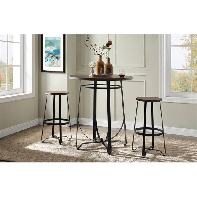 Acme Nirav Walnut And Black Metal Wood Finish 3 Piece Bar Table Set