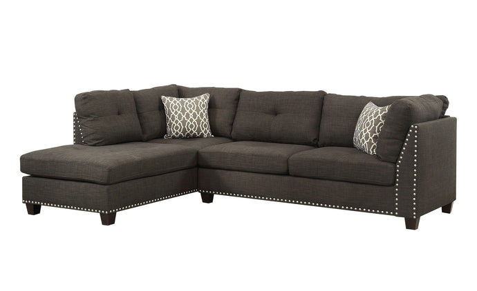 Acme Laurissa Charcoal Linen And Wood Finish Sectional Sofa