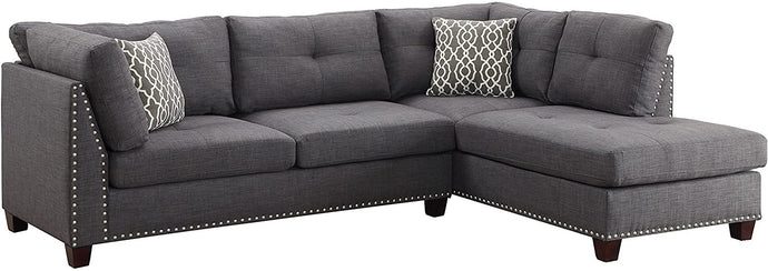 Acme Laurissa Light Charcoal Linen And Wood Finish Sectional Sofa