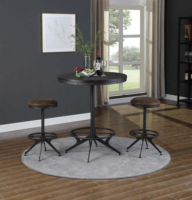 Homy Living Black Metal And Wood Finish Round Finish 3 Piece Bar Table Set