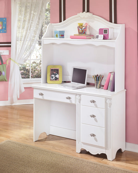 Ashley Exquisite White 2 Piece Bedroom Desk and Hutch