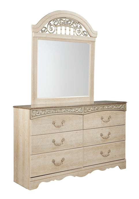 Signature Design Catalina Antique White 2 Piece Dresser And Mirror
