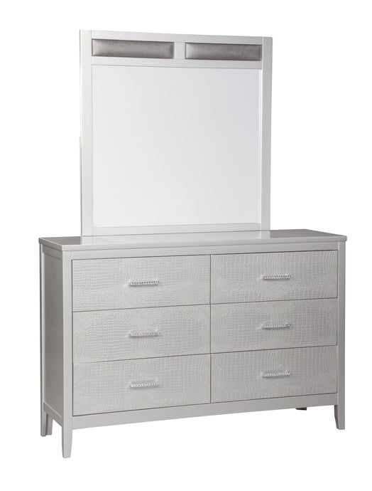 Signature Design by Ashley Olivet Silver 6 Drawers Dresser and Mirror