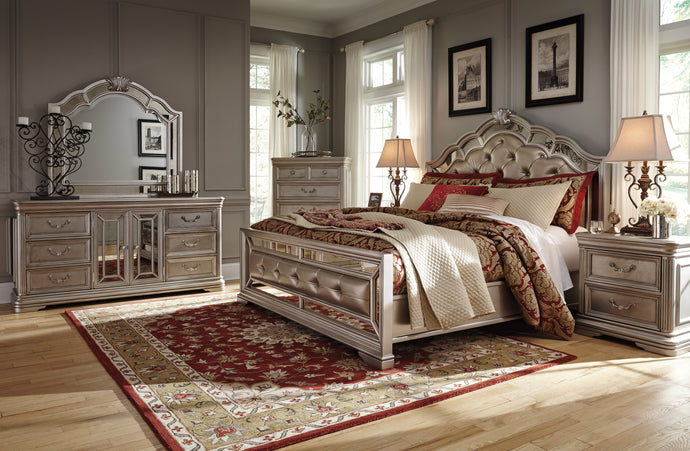 Birlany Silver 4 Piece California King Upholstered Bedroom Set