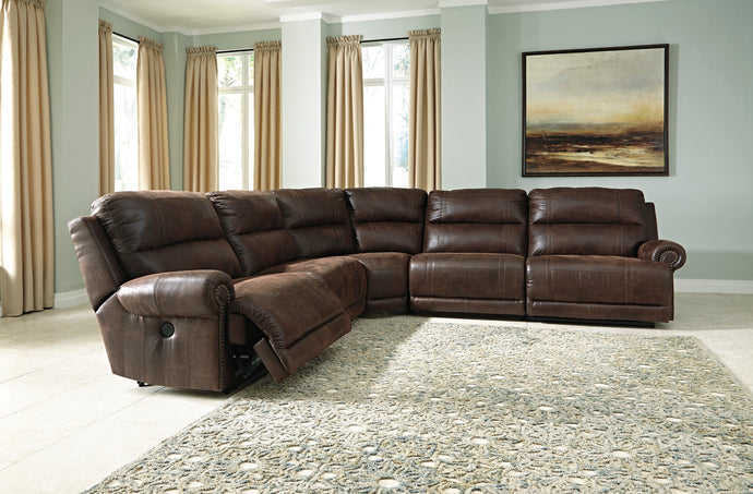 Signature Design by Ashley Luttrell Espresso 5 Piece Sectional Sofa
