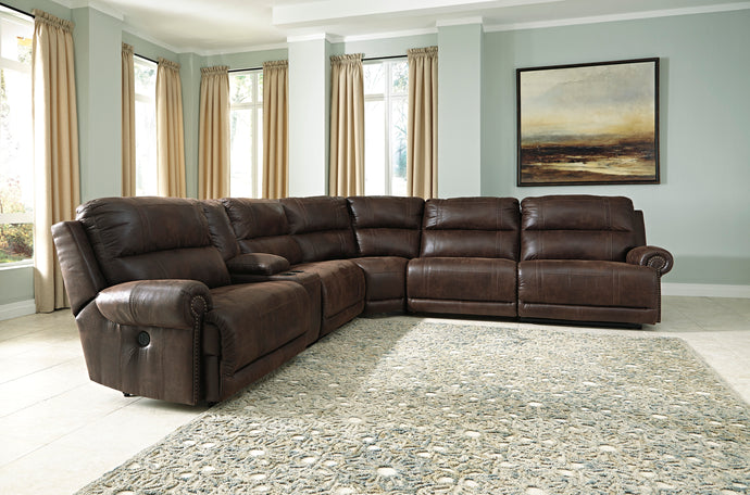 Signature Design By Ashley Luttrell Espresso 6 Piece Sectional Sofa