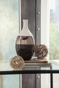 Dericia Casual Brown Cream Finish Vase Ashley Furniture