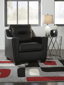 Signature Design Kensbridge Black Leather Chair And Ottoman