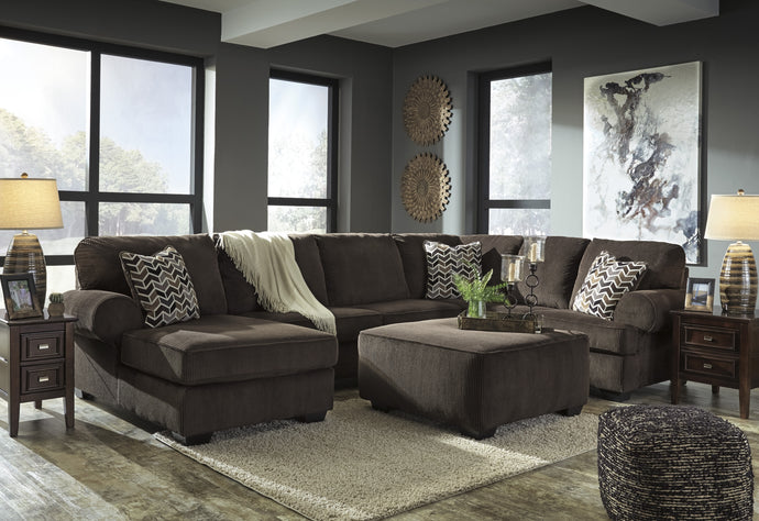 Signature Design Jinllingsly Chocolate Sectional Sofa With Ottoman