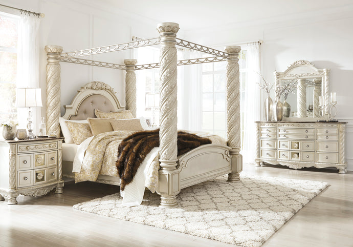 Cassimore Silver 4 Piece California King Poster Canopy Bedroom Set