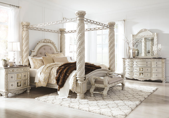 Cassimore Silver 5 Piece California King Poster Canopy Bedroom Set
