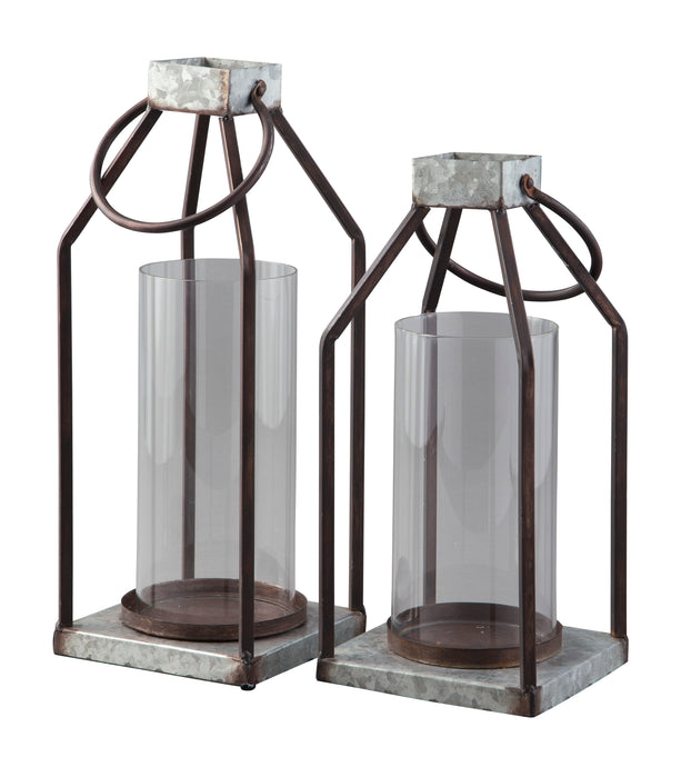 Signature Design By Ashley Diedrick Gray And Black Lantern Set Of 2
