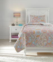 Load image into Gallery viewer, Jessamine Pink And Orange 3 Piece Twin Coverlet Set