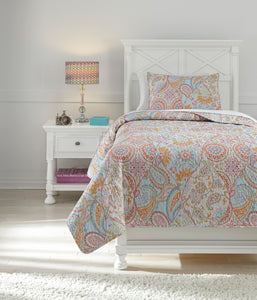 Jessamine Pink And Orange 3 Piece Twin Coverlet Set