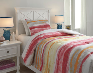 Tammy Pink And Orange 3 Piece Twin Comforter Set