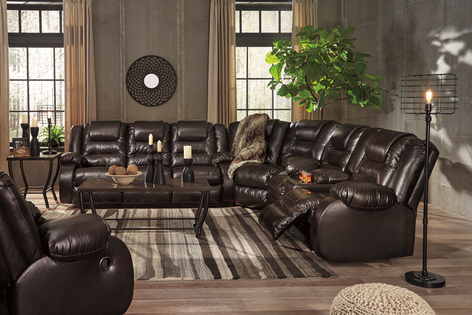 Signature Design Vacherie Chocolate Sectional Sofa With Rocker Recliner