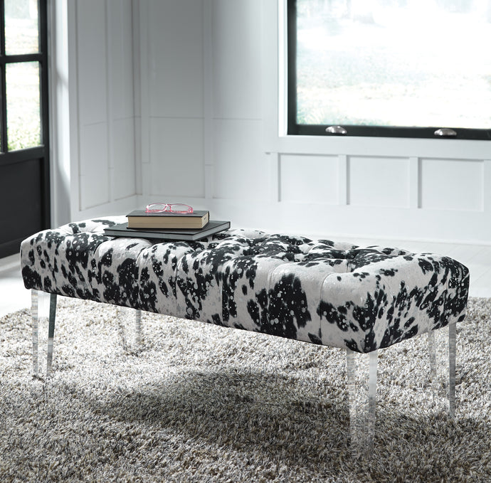 Signature Design A3000090 Brooklee White Fabric Finish Bench