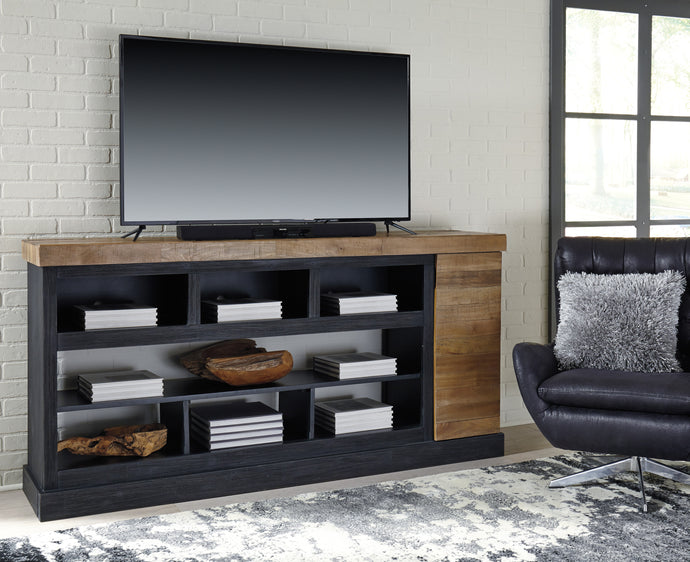 Signature Design W715-68 Tonnari Black And Brown Wood Finish TV Stand