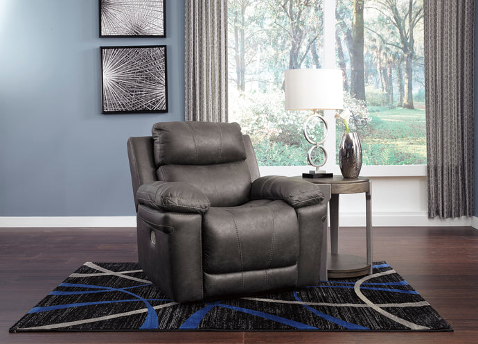 Signature Design 3000413 Erlangen Gray Leather Finish Recliner Chair