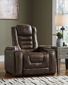 Signature Design 3850113 Game Zone Chocolate Leather Finish Recliner Chair