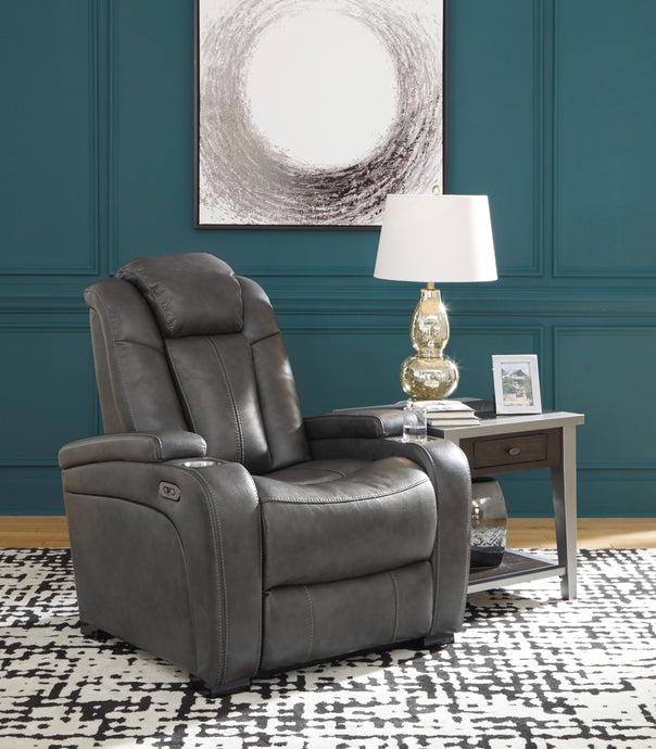 Signature Design 8500113 Turbulance Gray Leather Finish Recliner Chair