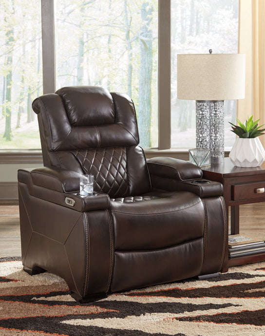 Signature Design 7540713 Warnerton Chocolate Leather Finish Recliner Chair