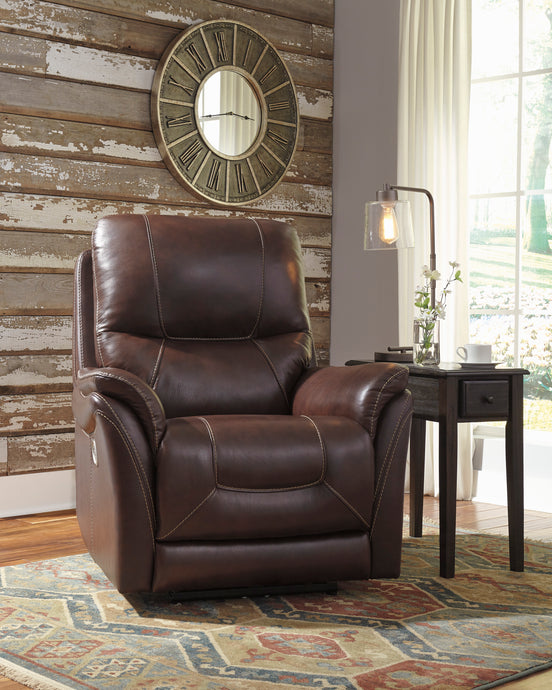 Signature Design 5650313 Stolpen Walnut Leather Finish Recliner Chair