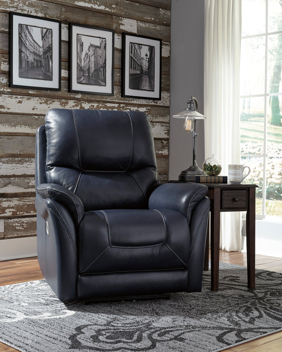 Signature Design 5650413 Stolpen Black Leather Finish Recliner Chair