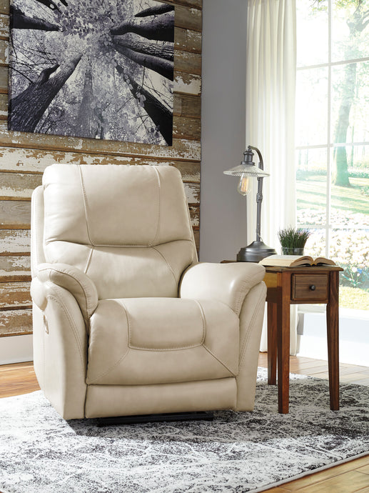 Signature Design 5650513 Stolpen Cream Leather Finish Recliner Chair