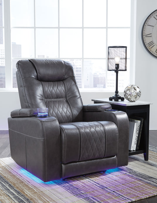 Signature Design 2150613 Composer Gray Leather Finish Recliner Chair