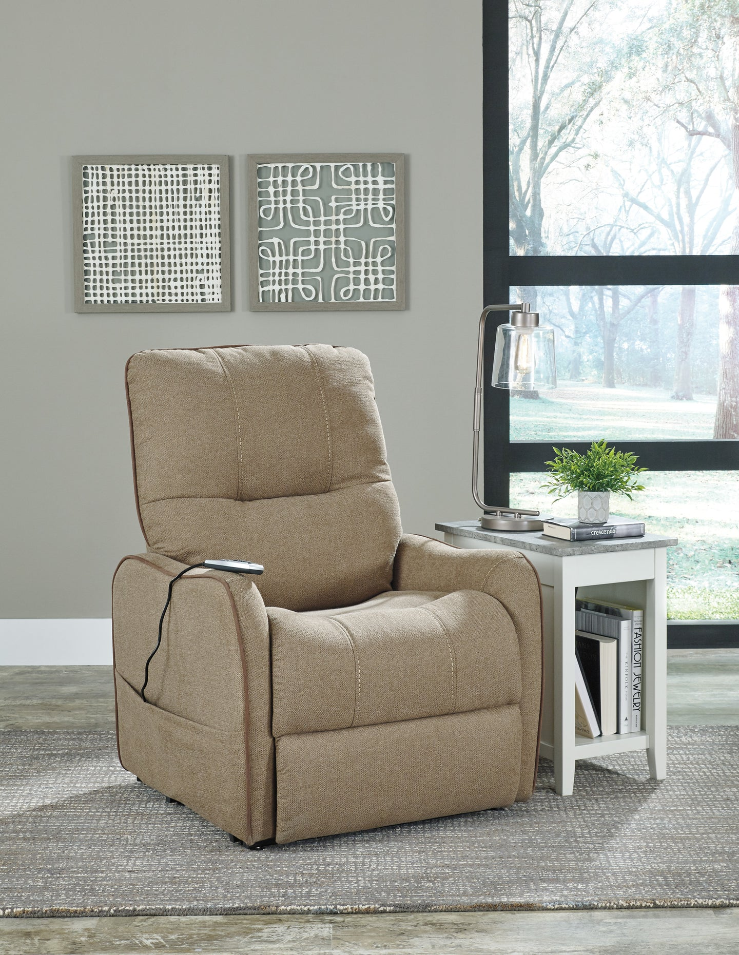 Signature Design 2190212 Enjoy Beige Polyester Finish Recliner Chair