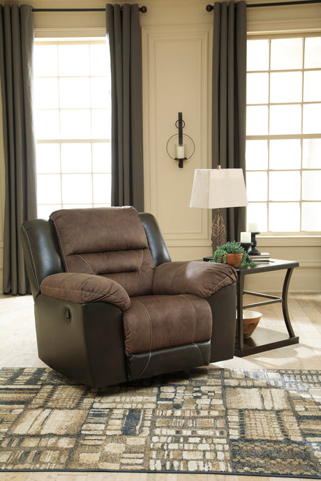 Signature Design 2940125 Eahart Brown Polyester Finish Recliner Chair