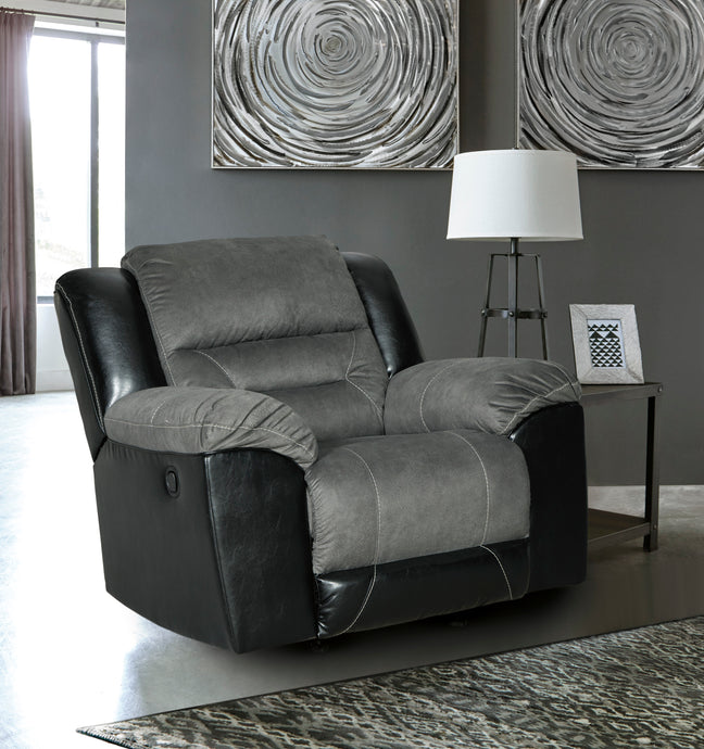 Signature Design 2940225 Eahart Gray Polyester Finish Recliner Chair