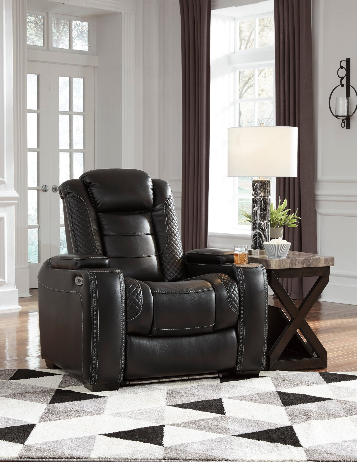 Signature Design 3700314 Party Time Black Leather Finish Recliner Chair