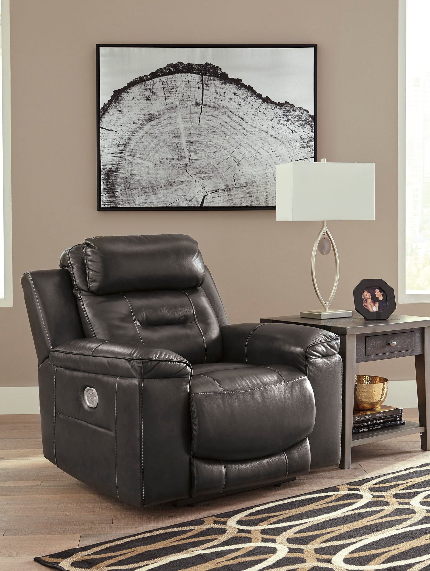Signature Design U5010113 Pomellato Gray Leather Power Recliner Chair