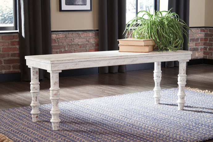Signature Design A3000159 Dannerville White Wood Finish Accent Bench