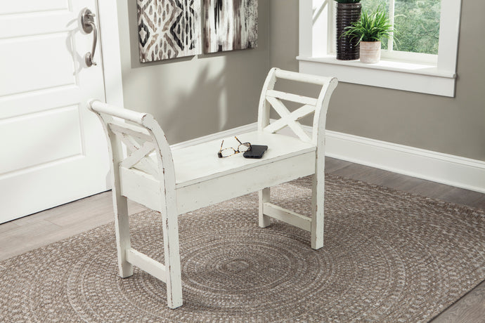 Signature Design A4000036 Heron Ridge White Wood Finish Accent Bench