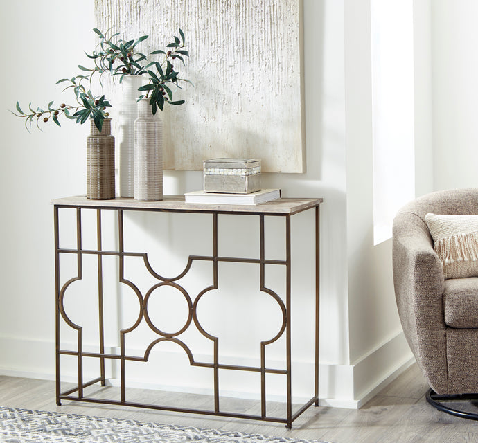 Signature Design A4000198 Roelsen Gold Metal Finish Console Table