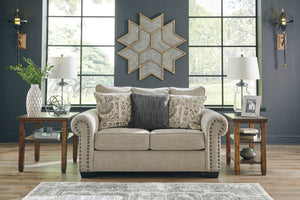Signature Design 9770435 Zarina Beige Polyester Finish Loveseat