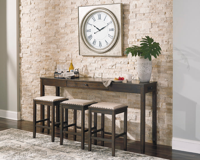 Signature Design Rokane Brown Wood Finish 4 Piece Bar Table Set