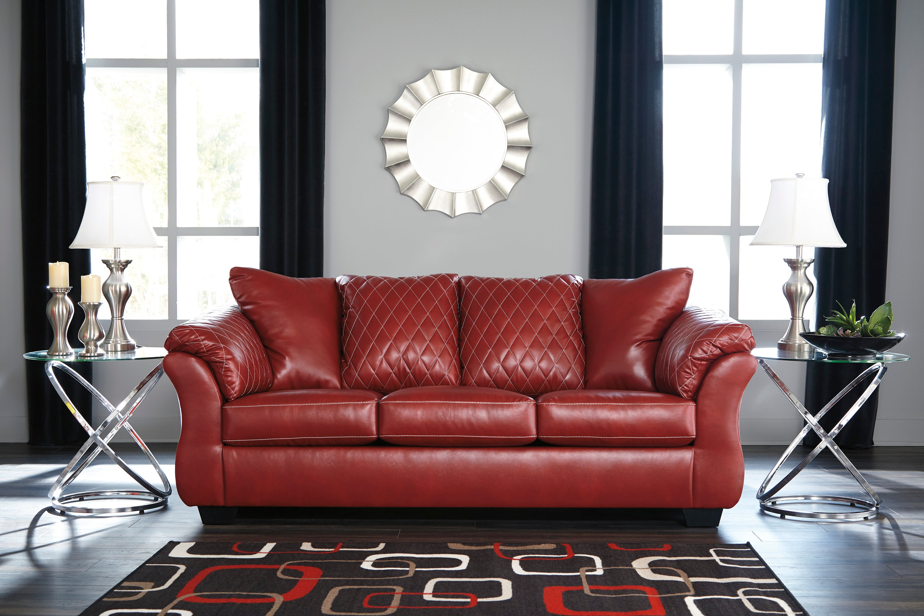 Excellent Signature Design Betrilo Red Faux Leather Finish Sofa Gamerscity Chair Design For Home Gamerscityorg