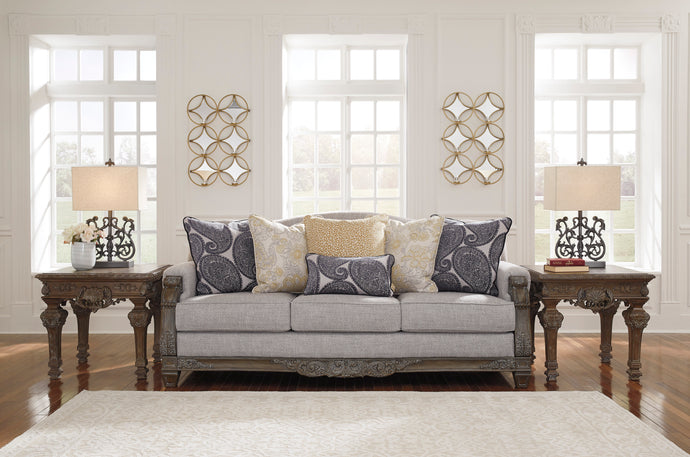 Signature Design Sylewood Gray Polyester Traditional Finish Sofa