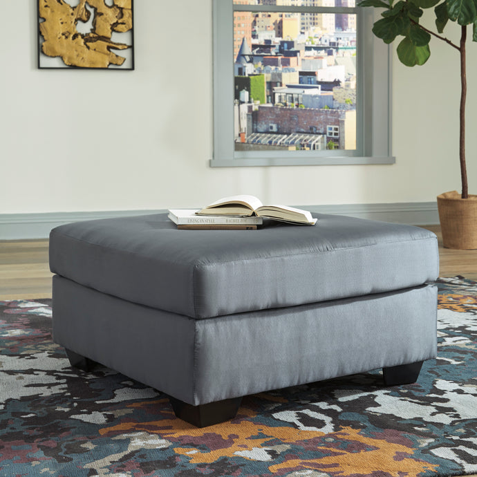 Signature Design Darcy Gray Polyester And Wood Finish Oversize Ottoman