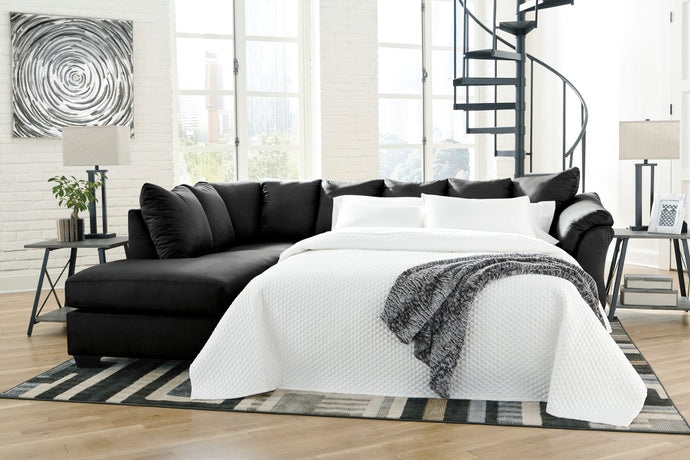 Signature Design Darcy Black Polyester Finish Right Arm Facing Sofa Bed