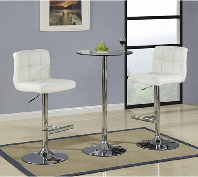 Glass Top Chrome Base Bar Table Cream Bar Stool Set