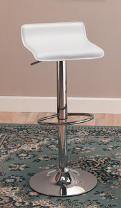 Coaster White Seat Chrome Base Adjustable Bar Stool Set of 2