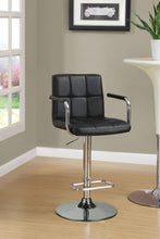 Load image into Gallery viewer, Coaster Adjustable Black Vinyl Chrome Base Bar Stool