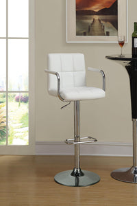 Coaster Adjustable White Vinyl Chrome Base Bar Stool