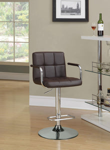 Coaster Adjustable Brown Vinyl Chrome Base Bar Stool