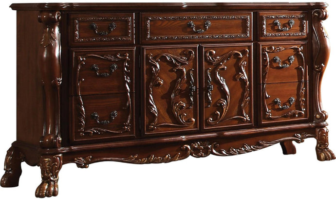 Acme Dresden Cherry Oak Wood Finish 7 Drawer 2 Door Dresser Server